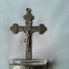 Antigüedades: CRUCIFIJO BENDITERO INRI DE METAL VINTAGE,ALEMAN. Lote 271012663