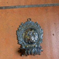 Antigüedades: PILA DE AGUA BENDITA PLATEADA. MARCAS M. E. VIRGEN DE LA SILLA.. Lote 271013988