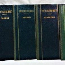 Oggetti Antichi: CORTE SISTEMA MARTÍ.COMPLETA 5 VOLUMENES: CORSÉS,LENCERIA,SASTRERIA,MODISTERIA Y PATRONES TIPO. Lote 271020118
