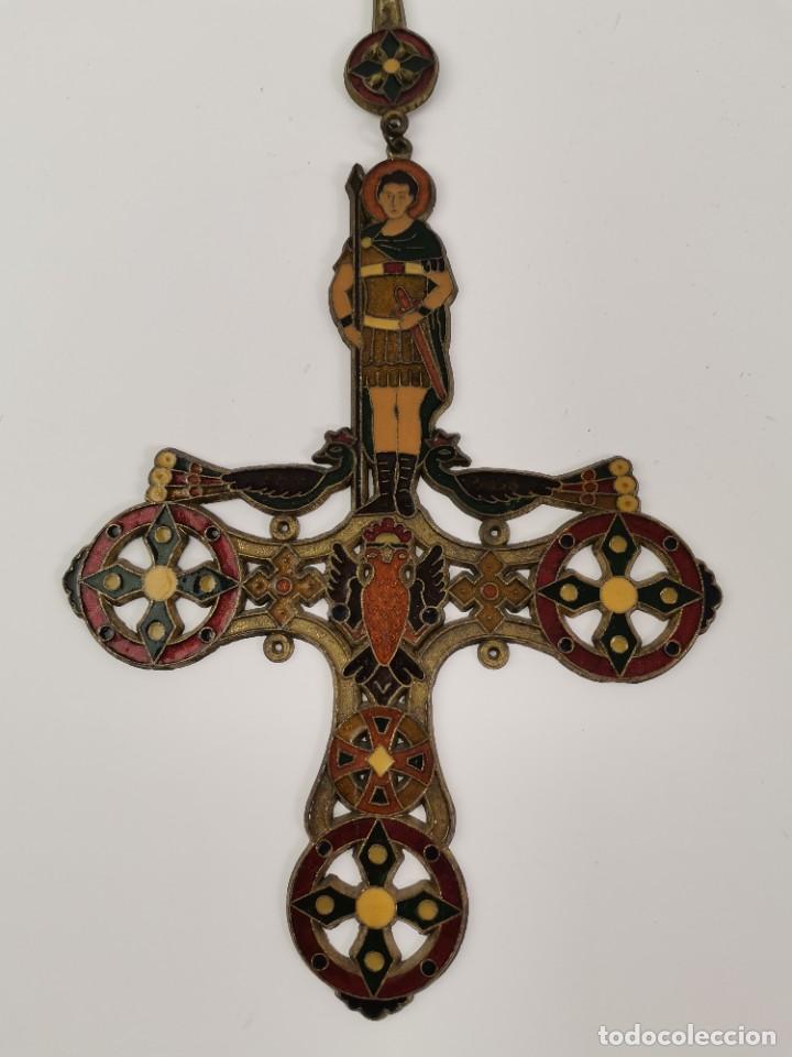 Antigüedades: CRUZ DE BRONCE ESMALTADA, GRECIA. MEDIADOS S.XX. - Foto 3 - 271091253