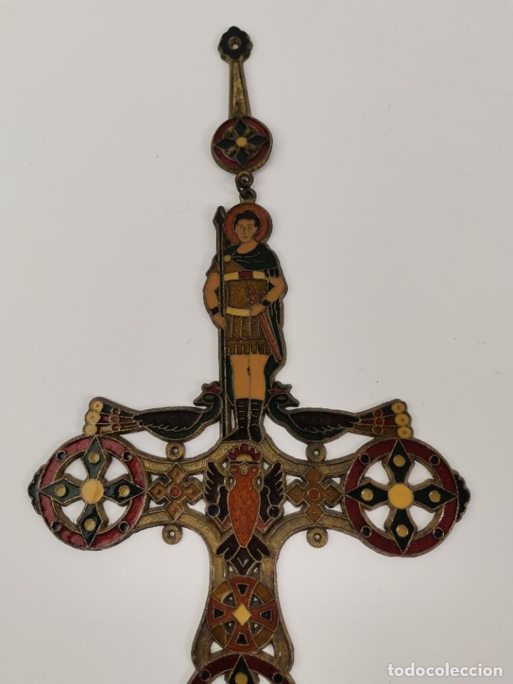 Antigüedades: CRUZ DE BRONCE ESMALTADA, GRECIA. MEDIADOS S.XX. - Foto 5 - 271091253