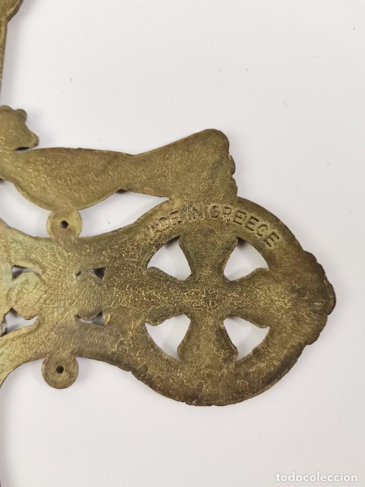 Antigüedades: CRUZ DE BRONCE ESMALTADA, GRECIA. MEDIADOS S.XX. - Foto 7 - 271091253