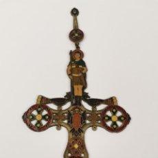 Antigüedades: CRUZ DE BRONCE ESMALTADA, GRECIA. MEDIADOS S.XX.. Lote 271091253