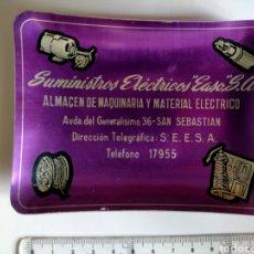 Antigüedades: CENICERO - TARJETERO SUMINISTROS ELECTRICOS EASO S. A. ALMACÉN DE MAQUINARIA Y MATERIAL ELÉCTRICO. Lote 271152473