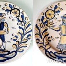 Antigüedades: PAREJA DE PLATOS DE CERAMICA DECORATIVOS. LOS CERAMISTAS DE TALAVERA. PLATO-059. Lote 271541928