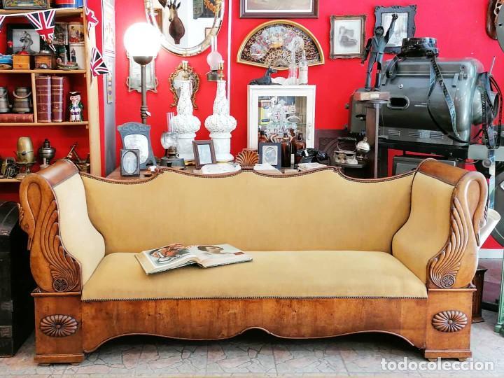 Antigüedades: Cama de dia canape sofa reclinatorio banco fernandino estilo imperio. 1830s. Caoba cisnes venera - Foto 5 - 271618483