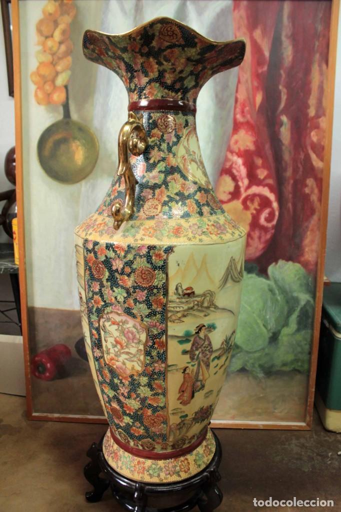 Antigüedades: Gran jarrón estilo Satsuma. Decorado a mano. Con certificado. 81cm(sin contar pie) China - Foto 11 - 271866438
