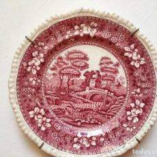 Antigüedades: PLATO DE CERÁMICA INGLÉS DE COPELAND SPODES TOSER. ESTAMPACIÓN EN ROJO. MARCADA.. Lote 271890368