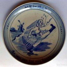 Antiquités: PLATO DE PORCELANA ESMALTADA,AZUL DELFT,REPRESENTA INVASIÓN ALEMANIA-NAZI DE PAISES BAJOS,MAYO 1940.. Lote 272051013