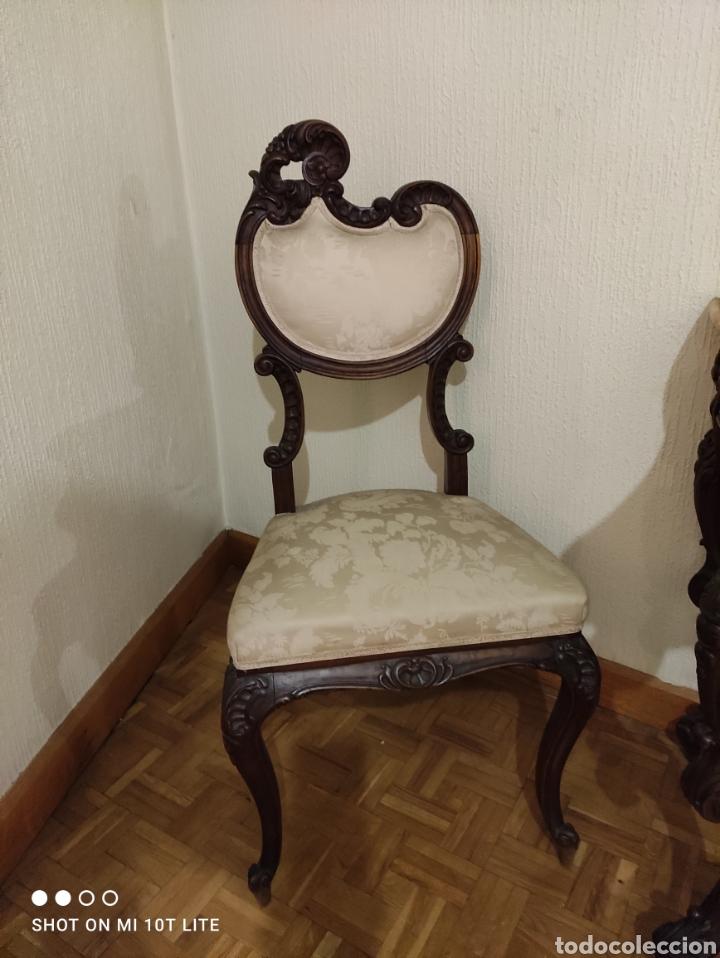 Antigüedades: EXCELENTE CONJUNTO DE ENTRADA CONSOLA ESPEJO Y SILLAS EN NOGAL - Foto 7 - 272163253