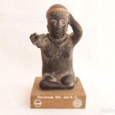 Antigüedades: FIGURA DE ANTIGUO DIOS AZTECA DE BARRO HECHA EN BARRANCAS (MÉXICO). Lote 272287138