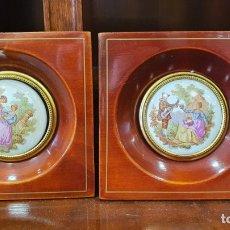 Antigüedades: LOTE DE 2 CUADRITOS PORCELANA DE LIMOGE. Lote 272301993