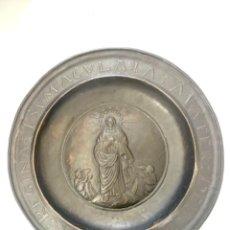 Antigüedades: GRAN PLATO LIMOSNERO O PETITORIO - COBRE REPUJADO Y CINCELADO - S.XIX O ANTERIOR. Lote 272348668