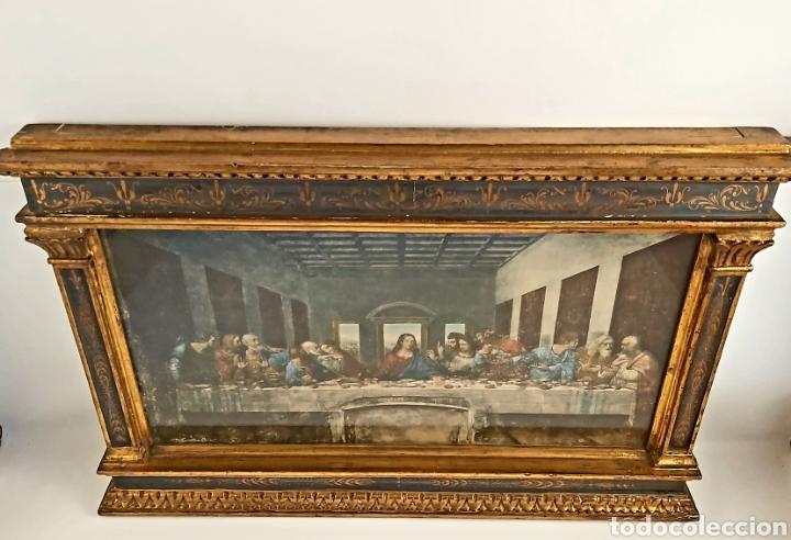 Antigüedades: MARCO TABERNÁCULO S.XIX DE MADERA Y ESTUCO. SANTA CENA - Foto 7 - 272436058