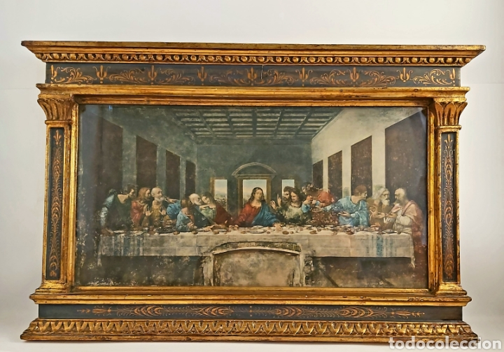 MARCO TABERNÁCULO S.XIX DE MADERA Y ESTUCO. SANTA CENA (Antigüedades - Hogar y Decoración - Marcos Antiguos)