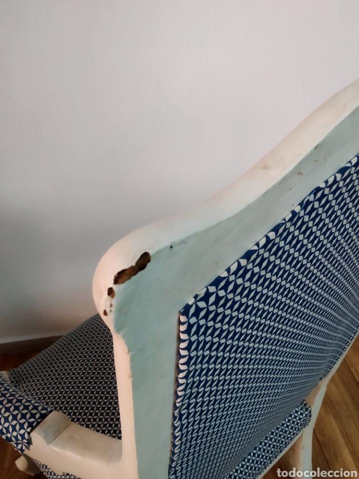 Antigüedades: Antigua silla época alfonsina ,realizado en blanco y tapizada posterior , - Foto 4 - 272565953