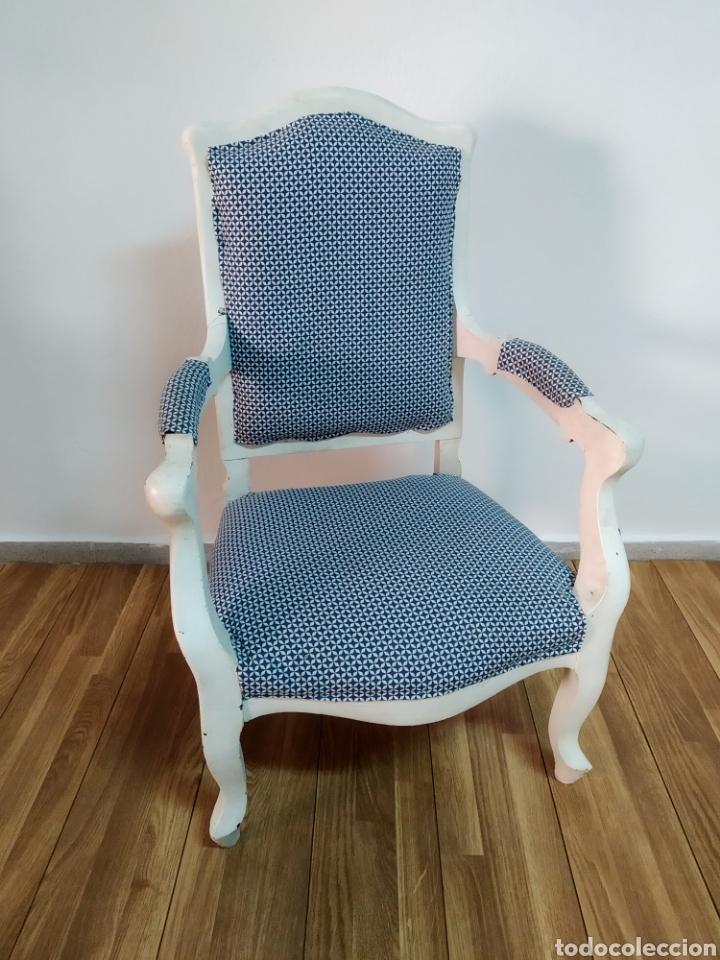 Antigüedades: Antigua silla época alfonsina ,realizado en blanco y tapizada posterior , - Foto 5 - 272565953