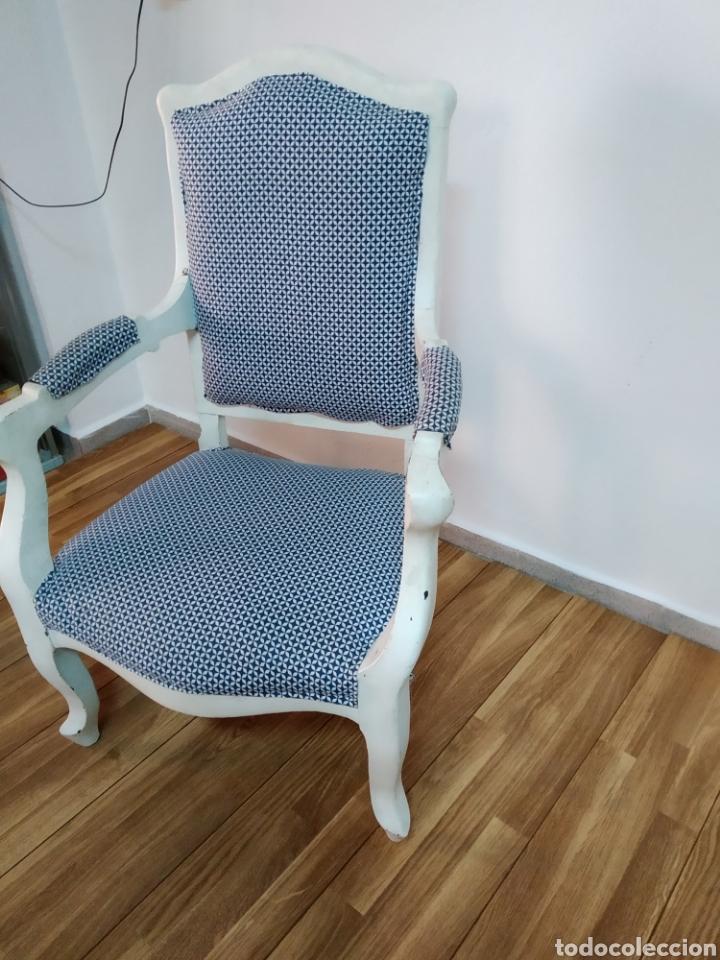 Antigüedades: Antigua silla época alfonsina ,realizado en blanco y tapizada posterior , - Foto 6 - 272565953