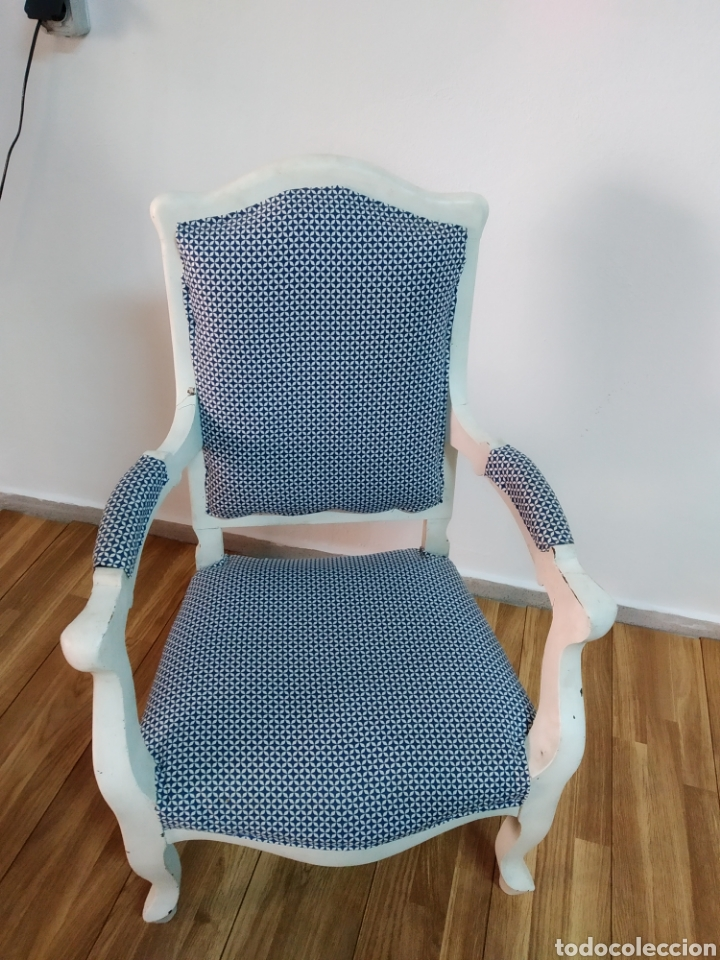 Antigüedades: Antigua silla época alfonsina ,realizado en blanco y tapizada posterior , - Foto 7 - 272565953