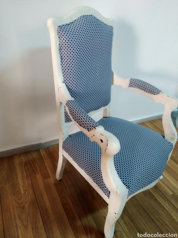 Antigüedades: Antigua silla época alfonsina ,realizado en blanco y tapizada posterior , - Foto 9 - 272565953