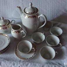 Antigüedades: ESCASO MODELO DE JUEGO DE CAFÉ SANTA CLARA VIGO. Lote 272575523