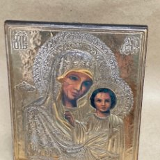 Oggetti Antichi: CUADRO RELIGIOSO DE PLATA 926 Y MADERA VIRGEN Y NIÑO JESUS. Lote 272586348