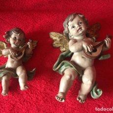 Antigüedades: PAREJA DE ANGELES PARA COLGAR EN LA PARED. Lote 272851308