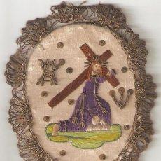 Antigüedades: ESCAPULARIO S.XIX CRISTO CRUCIFICADO. BORDADO A MANO EN SEDA.. Lote 272871388