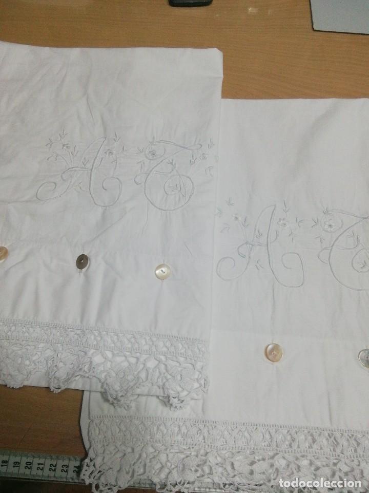 * FUNDAS DE LINO. 80CM ( RF:387/B) (Antigüedades - Hogar y Decoración - Sábanas Antiguas)