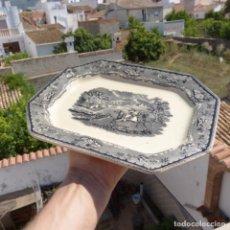 Antigüedades: ANTIGUA FUENTE DE LOZA OCTOGONAL LA AMISTAD CARTAGENA , 27,2 X 21,5. Lote 272889928