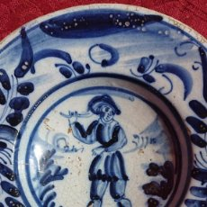 Antiquités: PLATO LOZA CATALANA - SERIE FAIXES I CINTES COLOR AZUL- AGRICULTOR - SIGLO XVIII. Lote 272988198