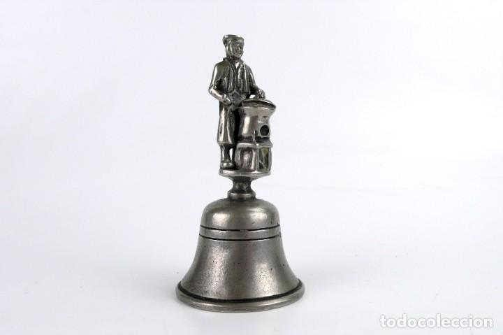 Antigüedades: Campana para llamar al servicio - Estaño - París,Ca.1900 - Foto 3 - 272990273