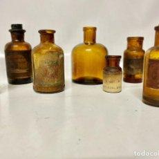 Antigüedades: LOTE DE 7 BOTELLAS (FRASCOS) DE CRISTAL DE FARMACIA. Lote 273105888