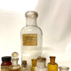 Antigüedades: LOTE DE 8 BOTELLAS (FRASCOS) DE CRISTAL DE FARMACIA. Lote 273106043