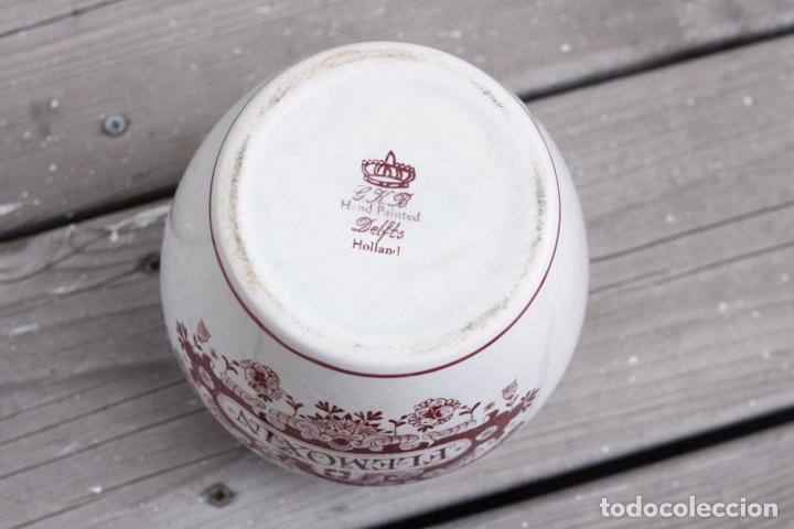 Antigüedades: Tarro de farmacia vintage de Delft, tarro de medicina Flemoxin en blanco y rosa - Foto 3 - 273145063