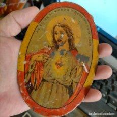 Antigüedades: RARA CHAPA DETENTE CORAZÓN DE JESÚS ESPAÑA, GUERRA CIVIL, 100% ORIGINAL REINO EN EL MUNDO Y BENDIGO. Lote 273266623