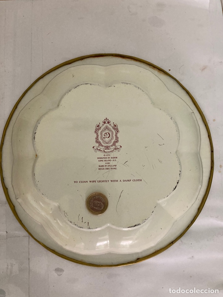Antigüedades: Antigua Fuente- frutero de metal Inglesa , sellada , de 1971 - Foto 10 - 273295193