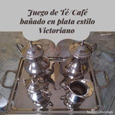 Antigüedades: JUEGO DE TÉ/CAFÉ BAÑADO EN PLATA ESTILO VICTORIANO. Lote 273297668