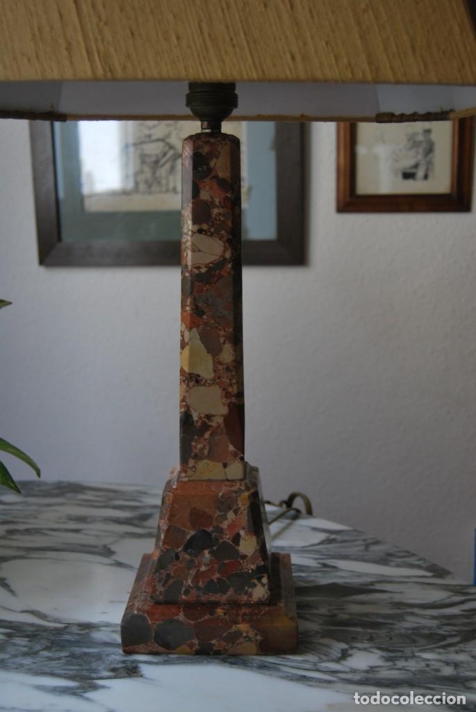 Antigüedades: INCREÍBLE LÁMPARA OBELISCO DE BRECHA DA ARRÁBIDA - PIEDRA - MARMOL - PORTUGAL - AÑOS 30 - Foto 5 - 273302903