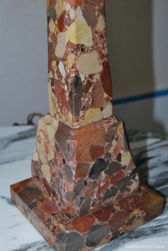 Antigüedades: INCREÍBLE LÁMPARA OBELISCO DE BRECHA DA ARRÁBIDA - PIEDRA - MARMOL - PORTUGAL - AÑOS 30 - Foto 11 - 273302903