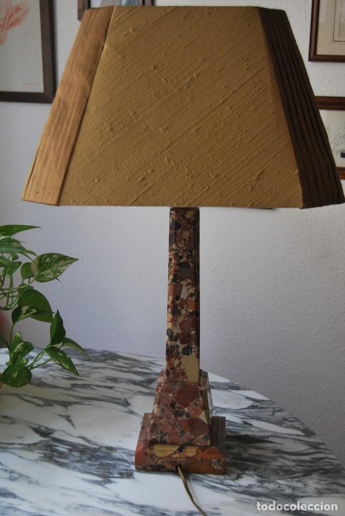 Antigüedades: INCREÍBLE LÁMPARA OBELISCO DE BRECHA DA ARRÁBIDA - PIEDRA - MARMOL - PORTUGAL - AÑOS 30 - Foto 13 - 273302903