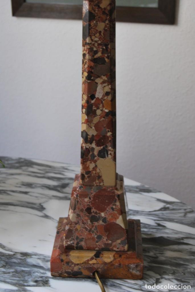 Antigüedades: INCREÍBLE LÁMPARA OBELISCO DE BRECHA DA ARRÁBIDA - PIEDRA - MARMOL - PORTUGAL - AÑOS 30 - Foto 14 - 273302903