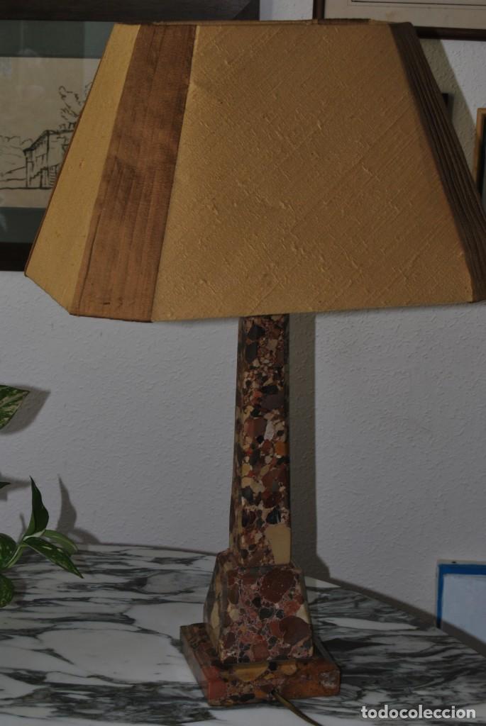 Antigüedades: INCREÍBLE LÁMPARA OBELISCO DE BRECHA DA ARRÁBIDA - PIEDRA - MARMOL - PORTUGAL - AÑOS 30 - Foto 19 - 273302903