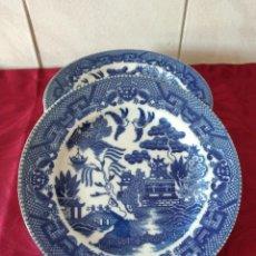 Antigüedades: LOTE DE 6 PLATOS DE POSTRE DE PORCELANA CHINA,JARDIN ORIENTAL EN AZUL.. Lote 273400088