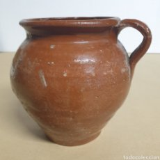 Antigüedades: PUCHERO TUPÍ GERRA JARRA BARRO CERAMICA POPULAR CATALANA VIDRIADA UN ASA. Lote 273433753