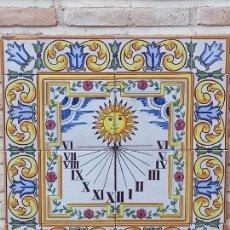 Antigüedades: RELOJ DE SOL GRANDE EN AZULEJOS PINTADO Y VIDRIADOS DE MANISES ( VALENCIA ) 4. Lote 273480083