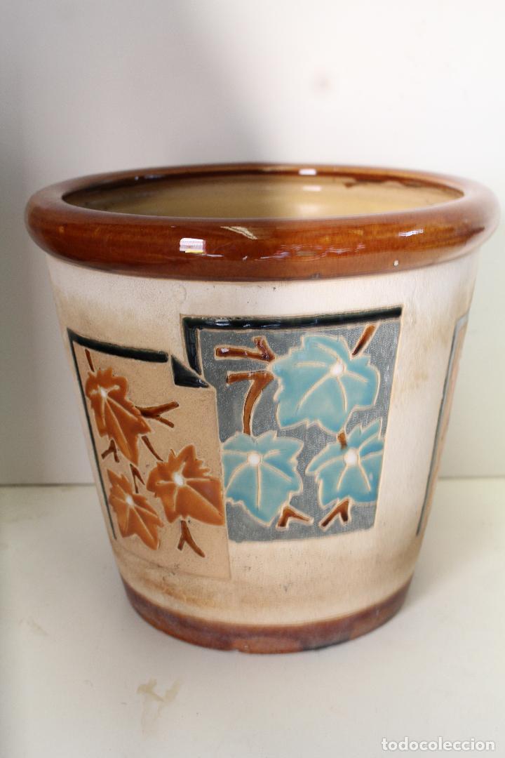 Antigüedades: macetero ceramica hojas - Foto 2 - 273607758