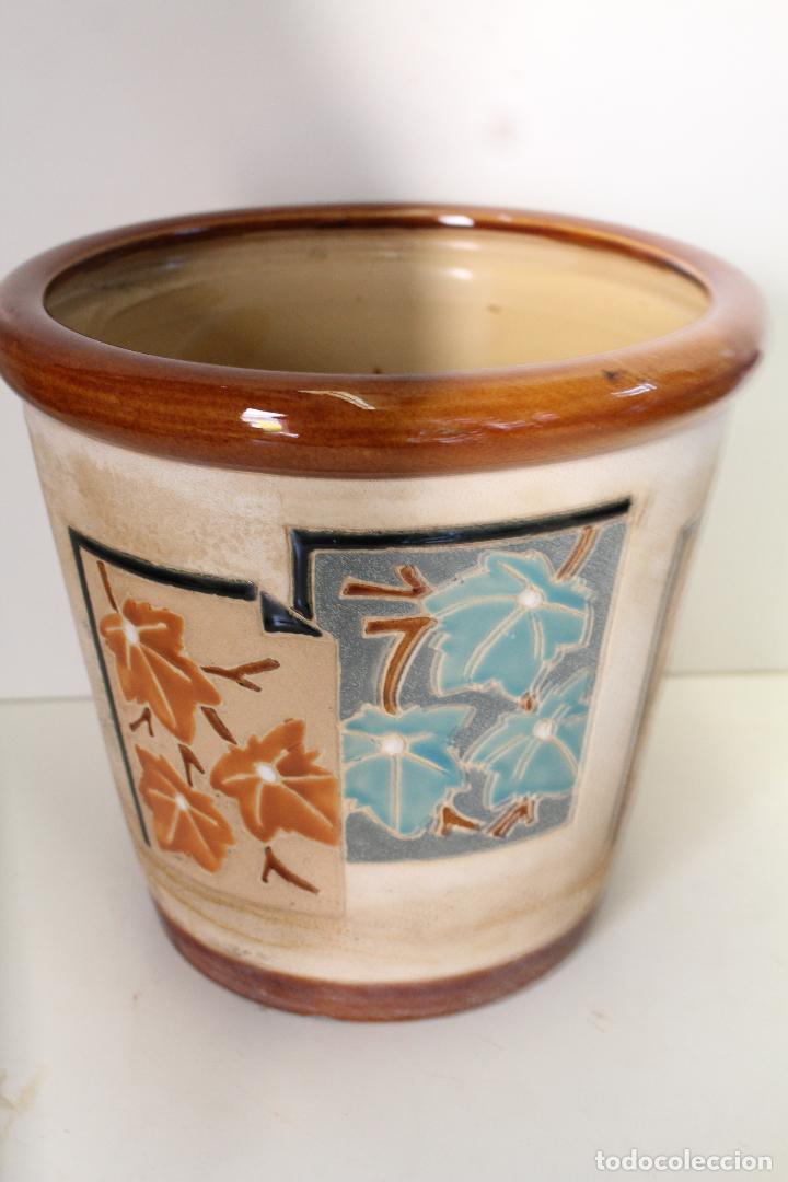 Antigüedades: macetero ceramica hojas - Foto 4 - 273607758