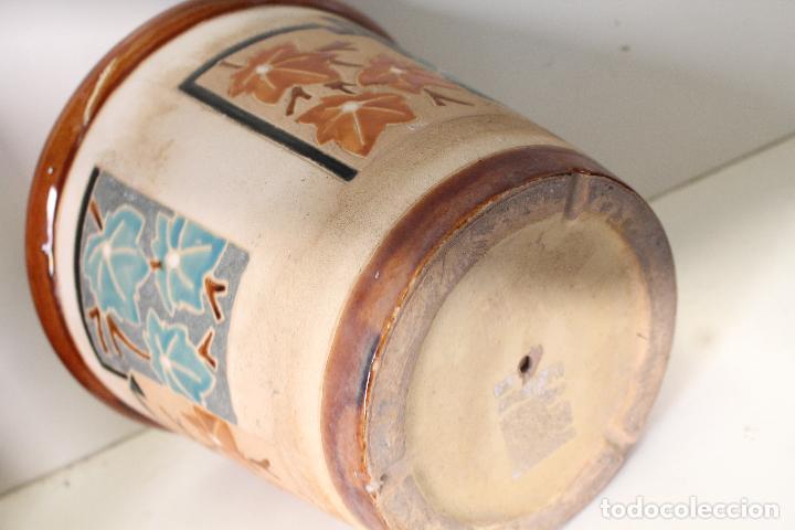 Antigüedades: macetero ceramica hojas - Foto 5 - 273607758