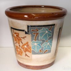Antigüedades: MACETERO CERAMICA HOJAS. Lote 273607758